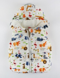 Fashion White Cartoon Doodle Hooded Child Cotton Vest