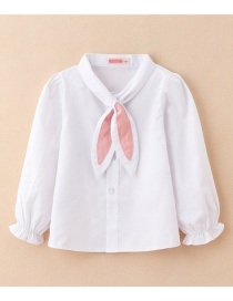 Fashion Long Sleeve Lantern Sleeves: Rabbit Ears: Bow Tie: Children's Shirt