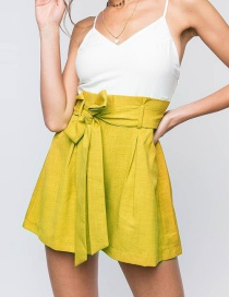 Fashion Ginger Yellow Solid Color Bandage High Waist Shorts