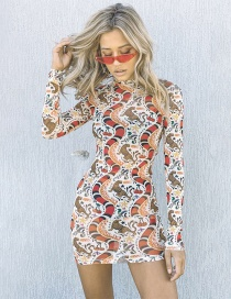 Fashion Printing Printed Animal Perspective Round Neck Dress