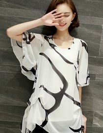 Fashion White Printed Trumpet Sleeve Chiffon Top