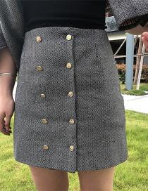 Fashion Dark Gray Double-cut Skirt