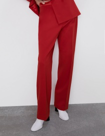 Fashion Red Solid Color Straight Pants