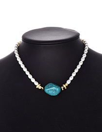 Fashion Lake Blue Pearl Natural Stone Necklace