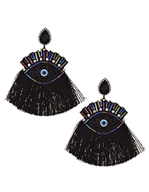 Fashion Black Alloy Rice Bead Resin With Large Eyes And Tassel Earrings