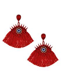 Fashion Red Alloy Studded Eye Tassel Earrings