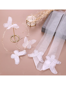 Fashion White Butterfly Crepe Flower Hair Band Set