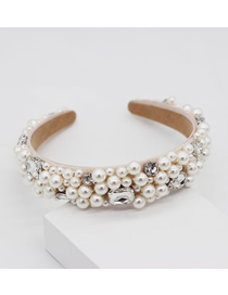 Fashion White Pearl Woven Rhinestone Gemstone Headband