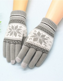 Fashion Light Grey Plush Wool Knitted Snowflakes Finger Touch Screen Gloves