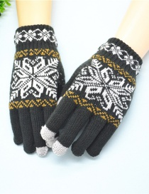 Fashion Dark Gray Plush Wool Knitted Snowflakes Finger Touch Screen Gloves
