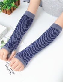 Fashion Gray Blue Strip Striped Arm Sleeve