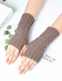 Fashion Khaki Knitted Half Finger Wool Gloves