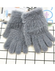 Fashion Gray Plush Touch Screen Five-finger Gloves