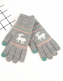 Fashion Gray Fawn Christmas Plus Velvet Touch Screen Knitted Woolen Gloves