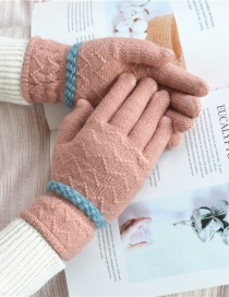 Fashion Pink Pointing Lace Wave Plus Velvet Gloves