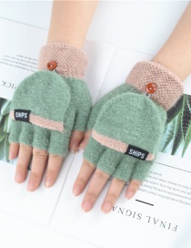 Fashion Green Purple Plus Velvet Flip Letter Knit Half Finger Color Matching Gloves