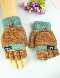 Fashion Brownish Green Plus Velvet Flip Letter Knit Half Finger Color Matching Gloves