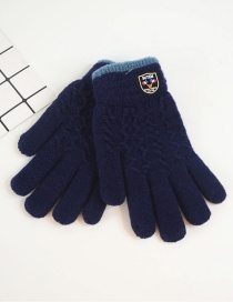 Fashion Upper Cyan Badge Plus Velvet Finger Gloves