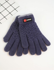 Fashion Dark Purple Badge Plus Velvet Finger Gloves