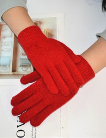Fashion Red Wool Five-finger Gloves