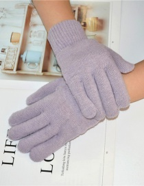 Fashion Light Purple Wool Five-finger Gloves