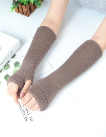 Fashion Khaki Half Finger Wool Arm Sleeve