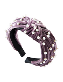 Fashion Purple Horizontal Striped Gold Velvet Wide-brimmed Knotted Pearl Headband