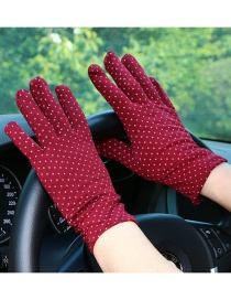 Fashion Red Dotted Brushed Sunscreen Full Finger Gloves