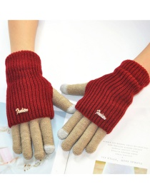 Fashion Khaki + Red Touch Screen Knit Wool Brushed Fake Two-piece Gloves