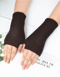 Fashion Brown Pure Color Gloves