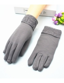 Fashion Gray Wide-brimmed Lace-brushed Five-finger Gloves