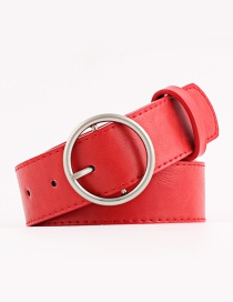 Fashion Red Round Pin Buckle Wide Belt