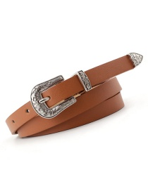 Fashion Camel Pin Buckle Carved Thin Belt