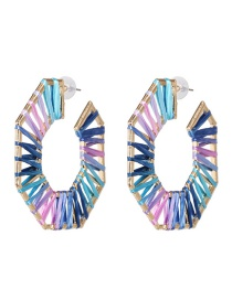 Fashion Color Hollow Alloy Lafite Woven Earrings