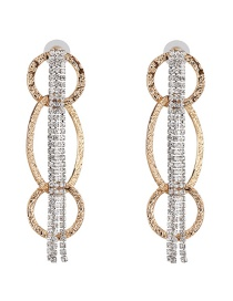 Fashion Gold Fringed Diamond Circle Earrings