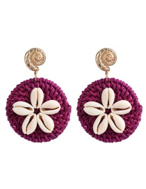 Fashion Purple Natural Shell Straw Earrings