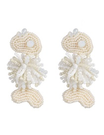 Fashion White Woven Fish Rice Earrings