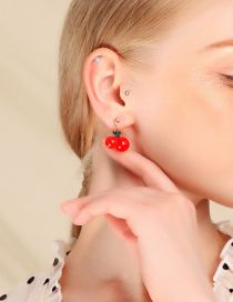 Fashion Red Alloy Acrylic Cherry Stud Earrings