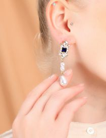 Fashion Gold 925 Silver Needle Blue Square Crystal Gemstone Pearl Stud Earrings