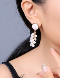 Fashion White Geometry Gems Circle Pearl Earrings