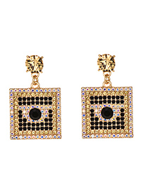 Fashion Champagne Alloy Studded Square Earrings