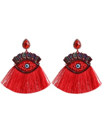Fashion Red Big Eyes Fringed Diamond Earrings