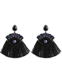 Fashion Black Big Eyes Fringed Diamond Earrings