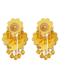 Fashion Yellow Flower Leather Tassel Earrings