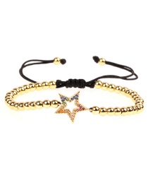 Fashion Gold Micro Inlay Diamond Star Copper Bead Woven Bracelet