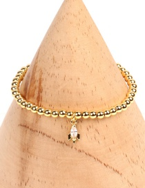 Fashion Aircraft Solid Gold Beads Micro-inlaid Zircon Palm Bracelet