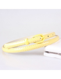 Fashion Yellow Imitation Leather Alloy Pin Buckle Fine Belt