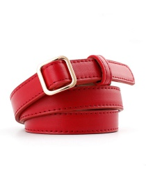 Fashion Red Square Buckle Without Needle Free Punching Thin Belt