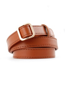 Fashion Camel Square Buckle Without Needle Free Punching Thin Belt