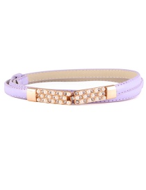 Fashion Light Purple Pearl Inlay Buckle Adjustment Belt